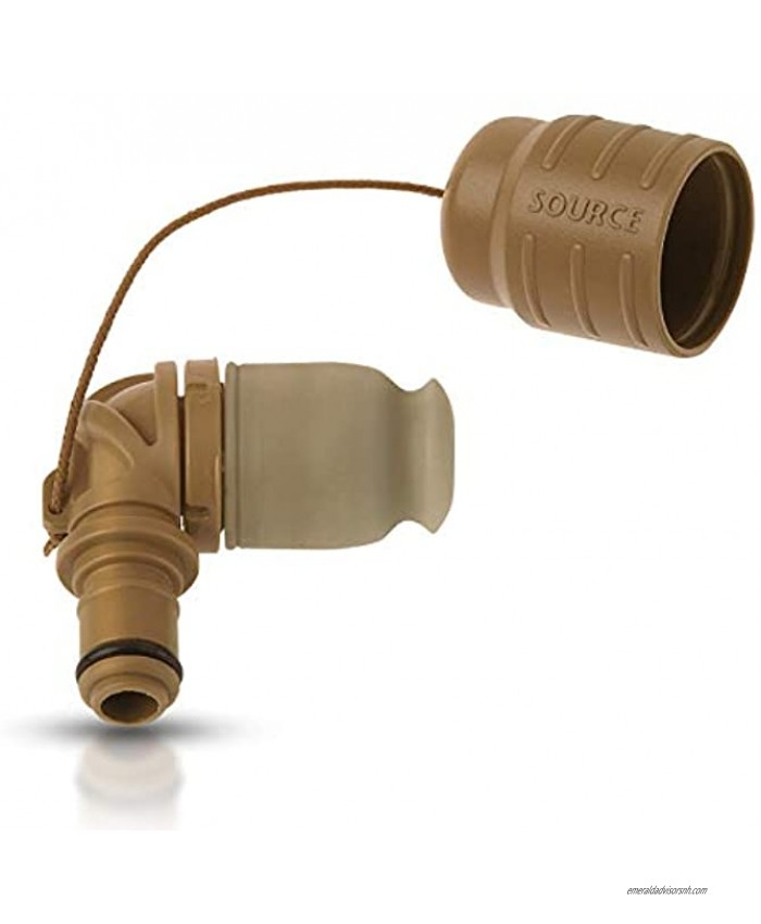 SOURCE Outdoor Helix Valve Kit High-Flow Helix Bite Valve For Full Flow with Just a Soft Bite Easy connection via QMT Quick Connect Mechanism Dirt Shield Protects from Dust and Pollution Coyote