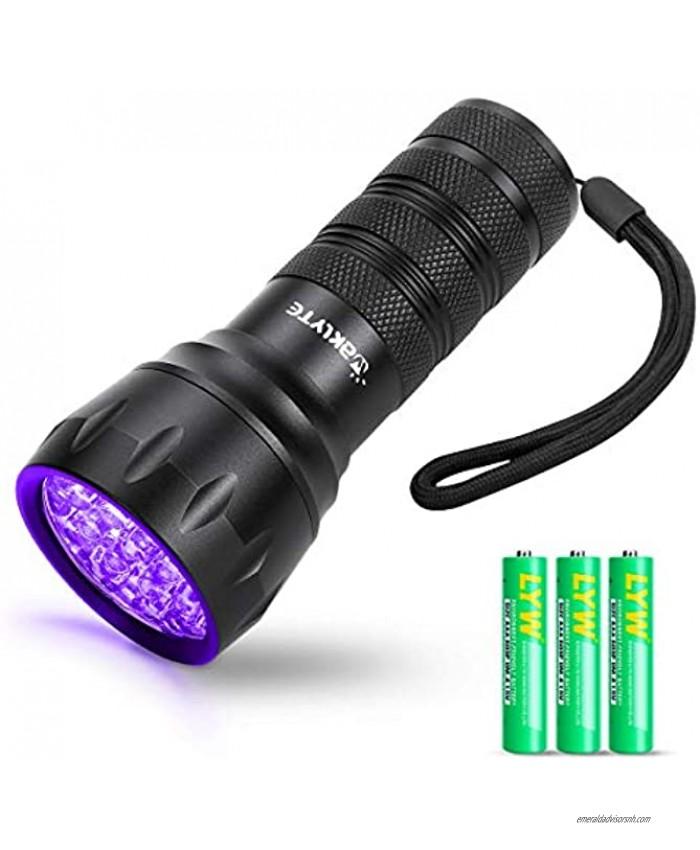 Waklyte Black Light Mini UV Flashlight 21 LED 395 nm Ultraviolet Blacklight Detector for Dog Urine Pet Stains and Bed Bug Battery Included