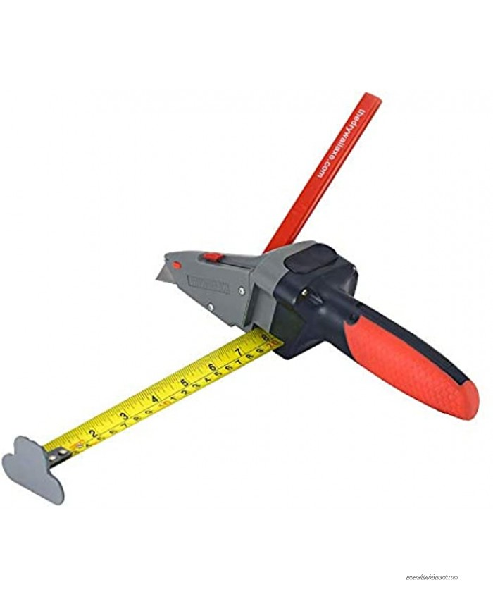 Drywall Axe All-in-one Hand Tool with Measuring Tape and Utility Knife – Measure Mark and Cut Drywall Shingles Insulation Tile Carpet Foam – Measure and Mark Wood for Rip Cuts