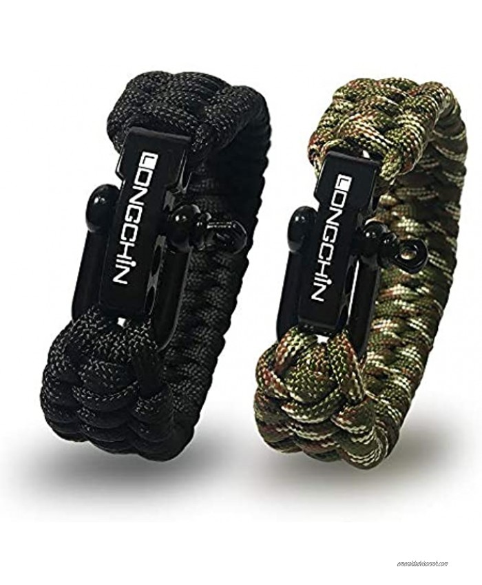 Longchin [2 Pack] Survival Paracord Bracelet with Stainless Steel Black Bow Shackle 3 Adjustable Sizes