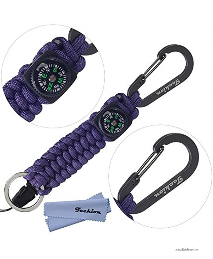 Techion Paracord Survival Keychain Compass [60-inch Disassembled Length] 7-inch Braided Strong Paracord Keychain with Key Ring Compass Carabiner and Quick Release Clip