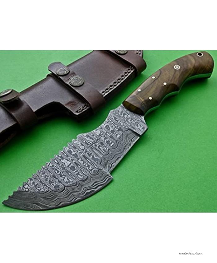 Poshland Knives TRH-001 Custom Handmade Damascus Steel Tracker Knife Exotic Wood Handle