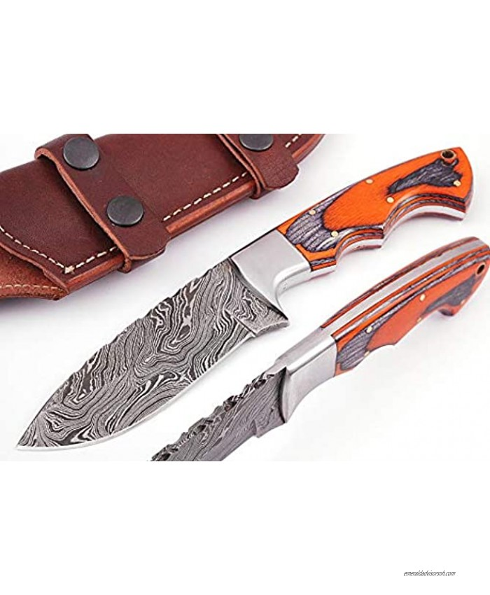 SZM-082 Beautiful Damascus Knife Made of Remarkable Damascus Steel and Exotic Wood -Its A Hunting Knife with Sheath SZM-082