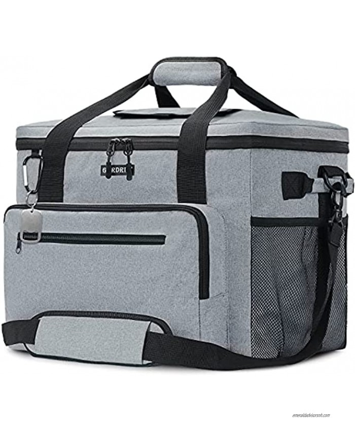 GARDRIT Large Cooler Bag 60 Cans Collapsible Insulated Lunch Box Leak-Proof Cooler Bag Suitable for Camping Picnic& Beach 40L Grey