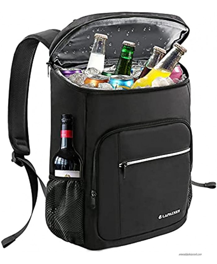 Lapacker Leakproof Cooler Backpack for Camping Insulated Backpack Cooler Bag Waterproof Soft Coolers Backpacks for Men Women to Work Lunch Hiking Beach Picnics Fishing Travel Day Trips,26 Cans Black