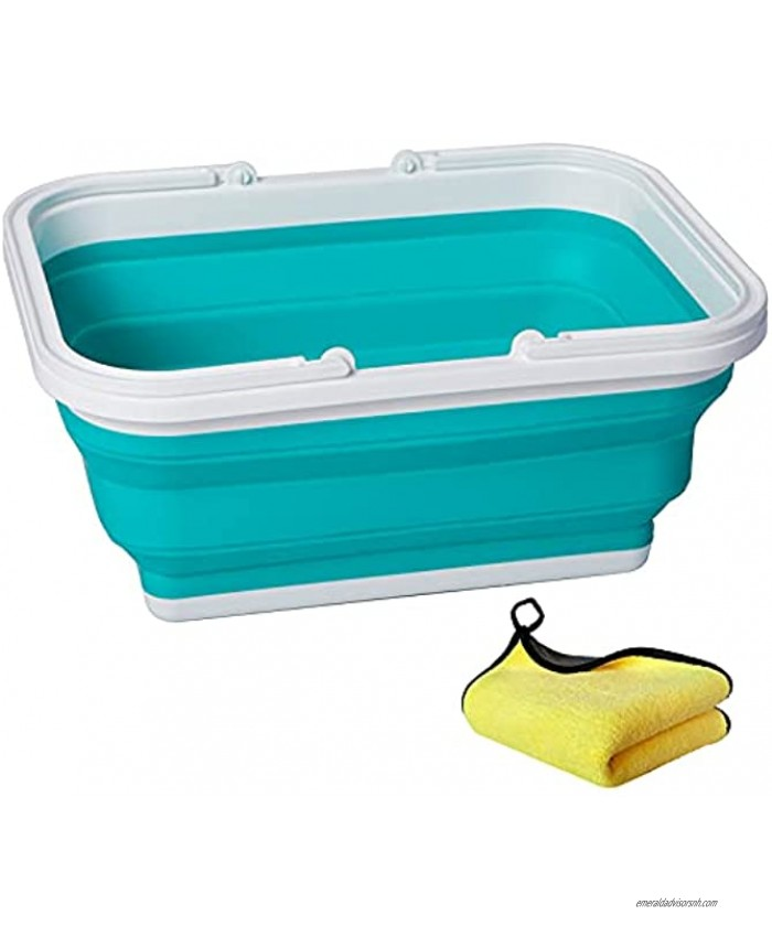 AUTODECO Collapsible Sink with Handle Towel 2.37 Gal 9L Foldable Wash Basin for Washing Dishes Camping Hiking and Home