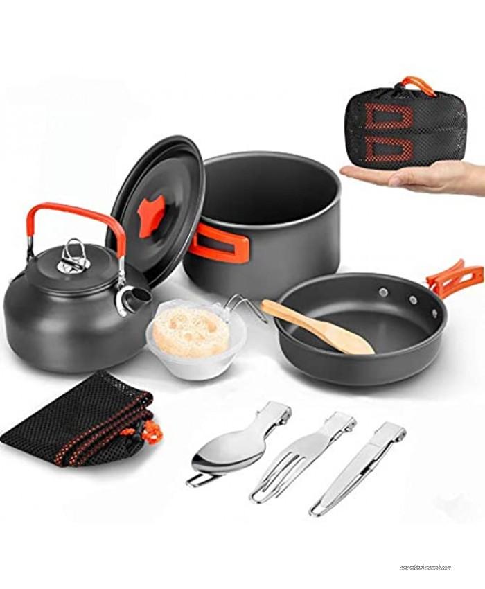 BGVANG Camping Cookware Set Portable Outside Camping Cooking Mess Kit 1-2 Person Pots Pan for Backpacking Hiking Picnic Fishing Orange