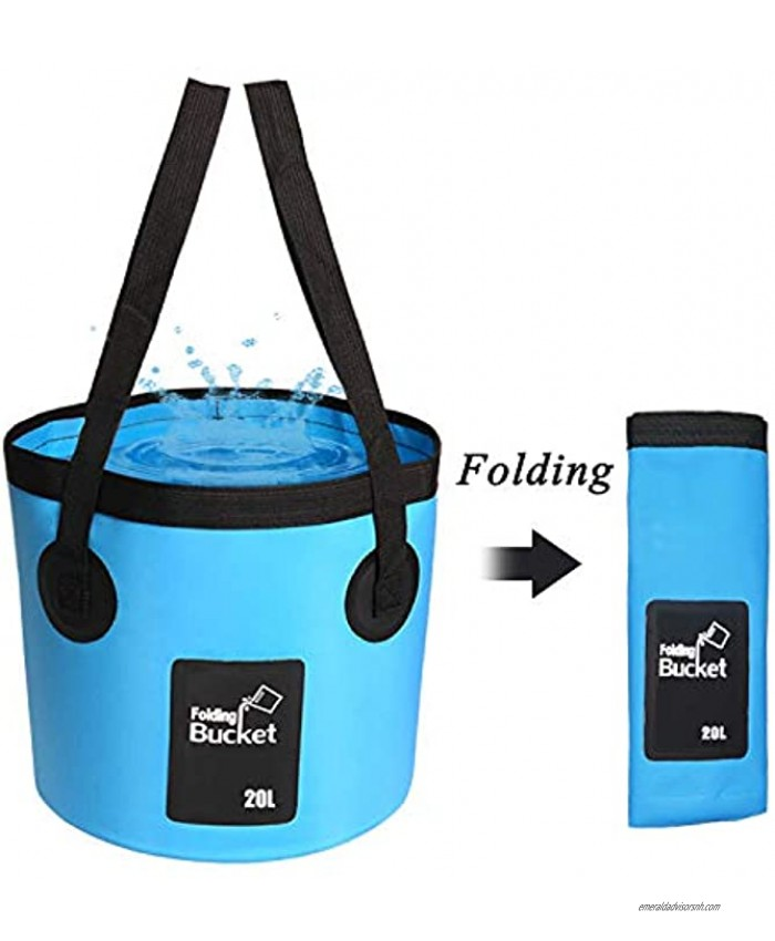 Collapsible Bucket Esthesia 5 Gallon Bucket Multifunctional Portable Collapsible Wash Basin Folding Bucket Water Container Fishing Bucket for Travelling Camping Hiking Fishing Gardening