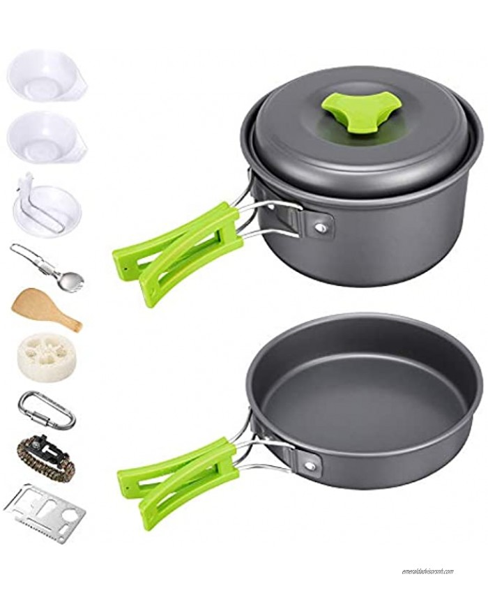 G4Free 12PCS Camping Cookware Mess Kit Lightweight Backpacking Pan Nonstick Frying Pan and Cooking Pot Outdoor Camping Hiking and Picnic