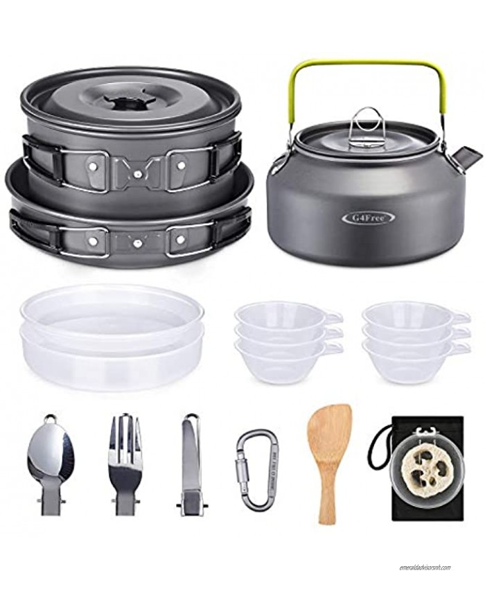 G4Free 19PCS Camping Cookware Mess Kit Lightweight Pot Pan Kettle Fork Knife Spoon Kit for Backpacking Outdoor Camping Hiking and Picnic