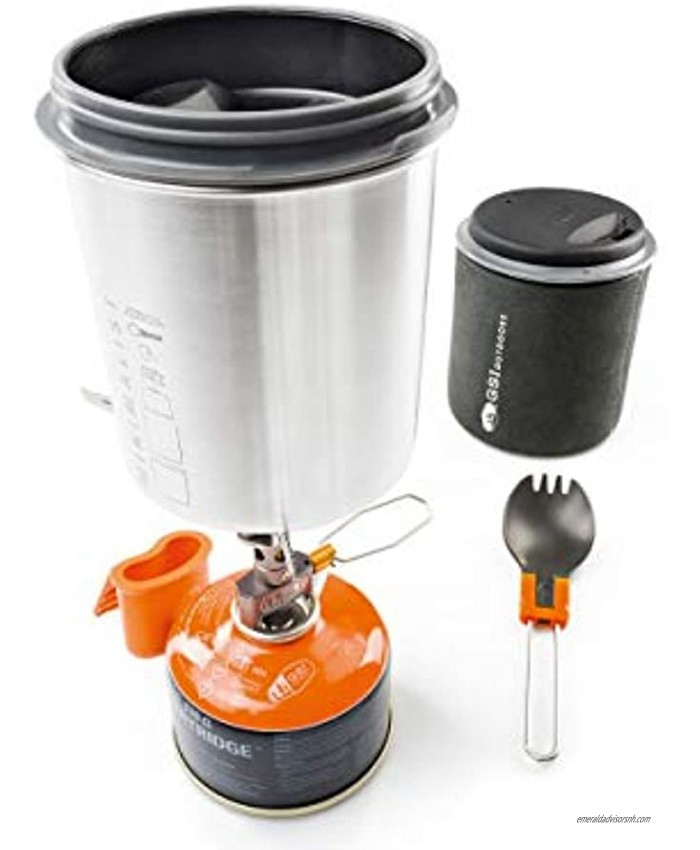 GSI Outdoors Glacier Stainless Minimalist Ultra-Light Cooking System Perfect for One Backpacker