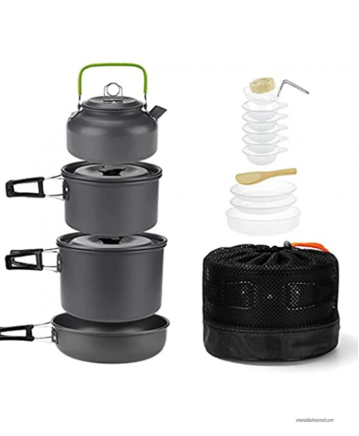 Isrechic 19 PCS Camping Cookware Set Lightweight Backpacking Cooking Set with Kettle Outdoor Camping Pots and Pans Set for Family Hiking Picnic