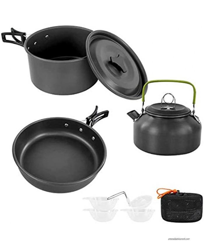 Sempiyi Portable Camping Cookware Set Lightweight Durable Mini Aluminum Folding Pot with Storage Bag
