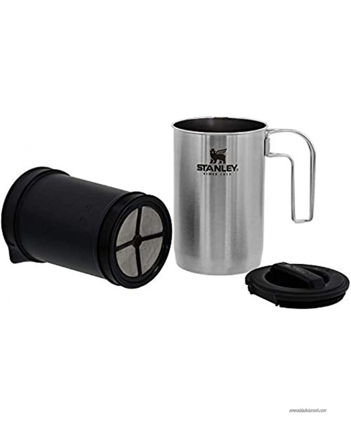 Stanley Adventure All-in-One Boil + Brewer French Press Coffee Maker 32oz BPA Free Campfire Coffee Pot Heats up Tea or Soup Great for Camping and Travel – Dishwasher Safe,
