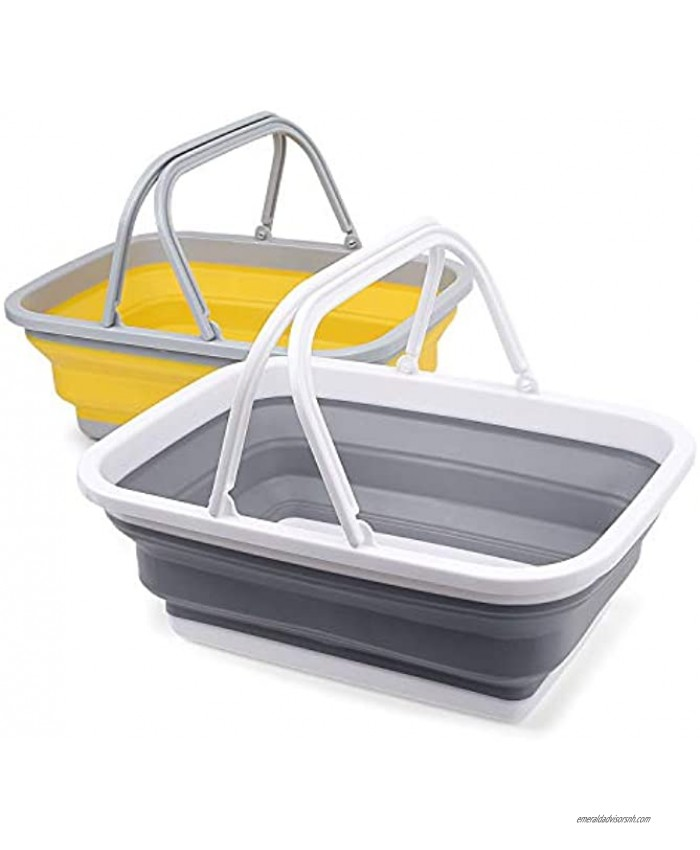 VanSmaGo 2 Pack Collapsible Sinks -Camping Picnic Baskets 10L 2.64 Gal Foldable Ice Buckets with Sturdy Handle for Washing Dishes,Hiking,RV and Home Portable Outdoor Wash Basin
