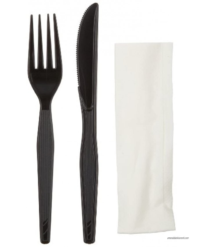 Dixie Wrapped 3-Piece Heavy-Weight Polystyrene Plastic Fork Knife And Napkin Kit by GP PRO Georgia-Pacific Black CH54NC7 Case of 500 Kits