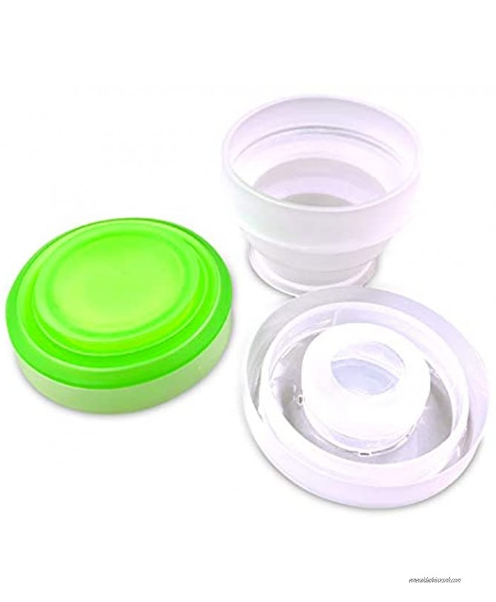 2 Pack Silicone Collapsible Travel Water Cup,Portable Camping Cup with Lids Food Grade Mugs Set for Outdoor Drinking. Collapsible Travel Water Cup,