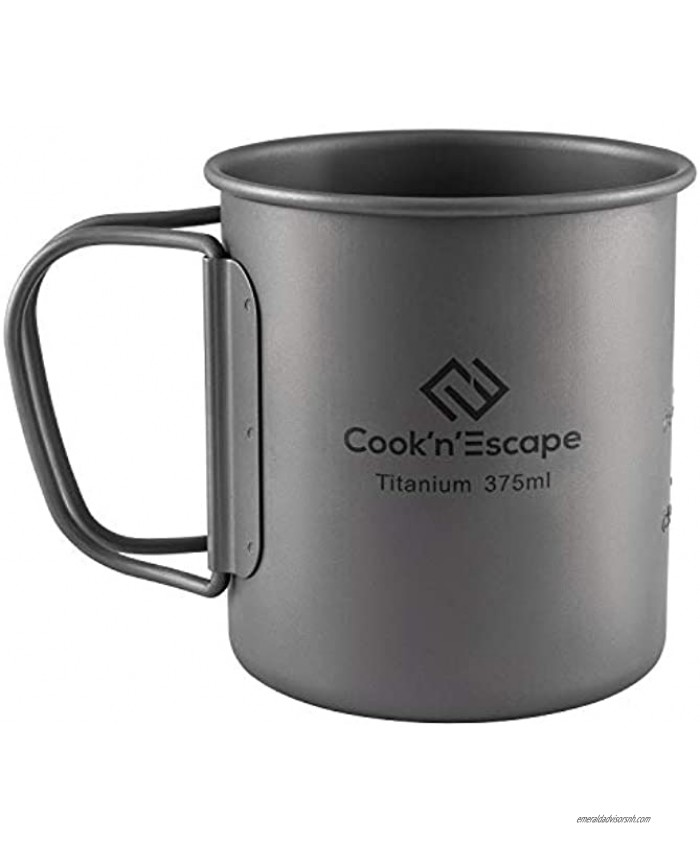 COOK'N'ESCAPE 375ml Titanium Cup Lightweight Camping Coffee Mug with Foldable Handle for Outdoor Backpacking Hiking Open Fire