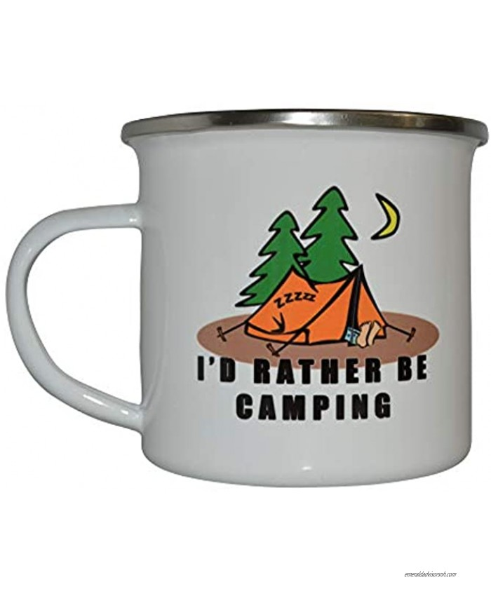 Funny Camp Mug Enamel Camping Coffee Cup Gift I'd Rather Be Camping Camping Gear