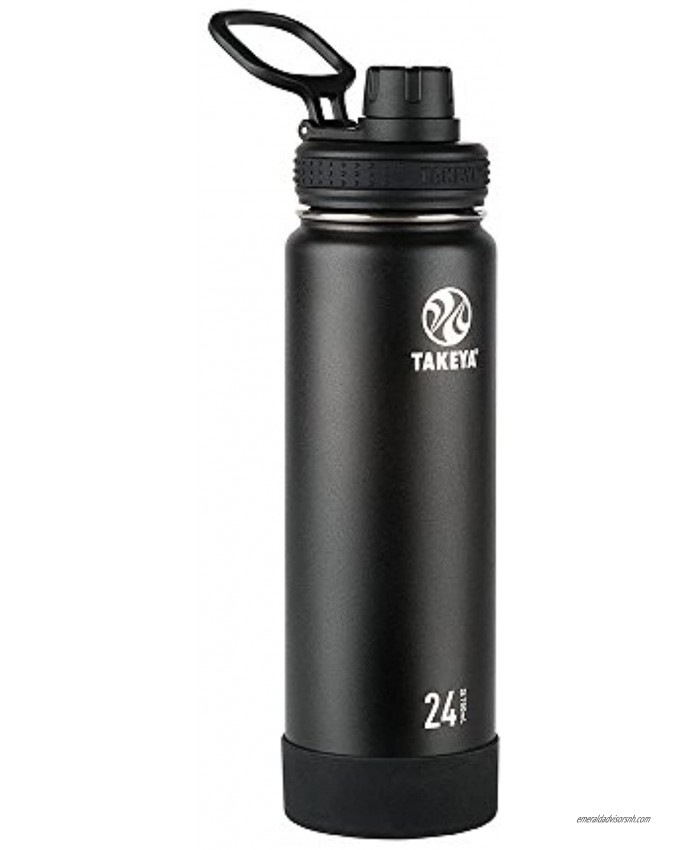 Takeya Actives Insulated Stainless Steel Water Bottle with Spout Lid 24 oz Onyx