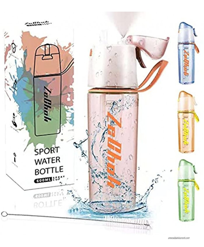 ZeChok 22OZ Water Bottle with Straw Spray Motivational Water Jugs,Fast Flow BPA Free for Fitness Gym School and OfficeIncluded Straw Brush,Pink