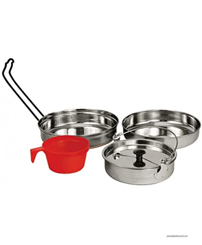 Texsport 5 pc Stainless Steel Camping Cookware Outdoor Mess Kit
