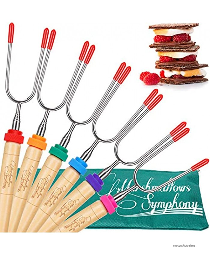 Carpathen Campfire Roasting Sticks for Marshmallow and Hot Dog Set of 6 Telescopic Smores Skewers Extra Long Heavy Duty Forks for Fire Pit & Fireplace Camping Grill Accessories