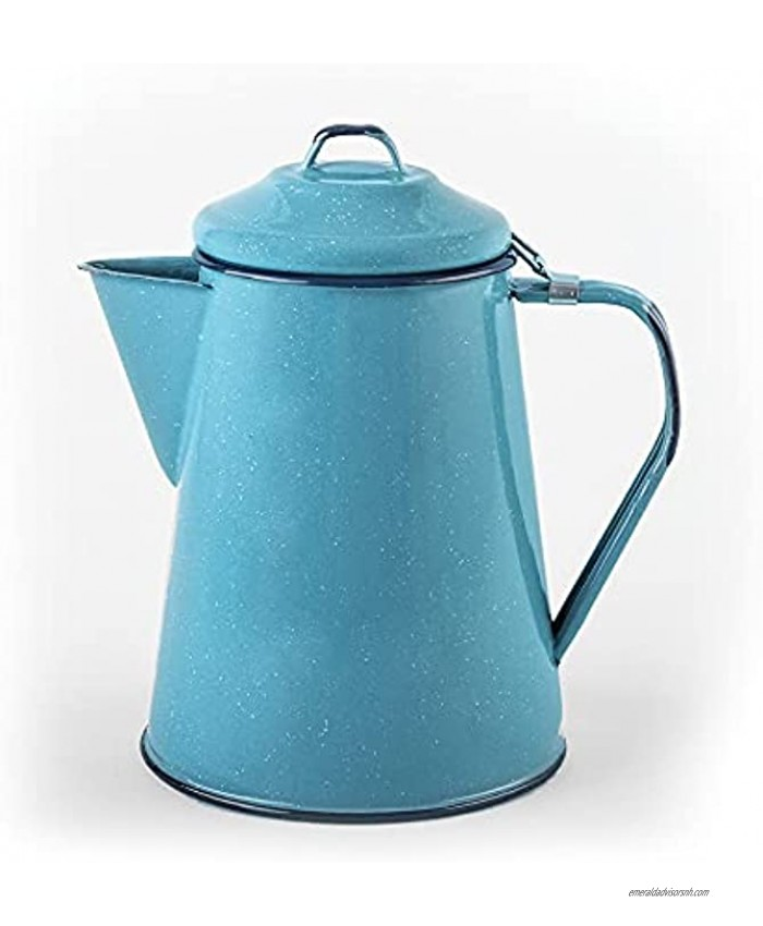 Cinsa Enamelware Coffee Pot Turquoise Color 8 Cups Camping Essentials Hot Water for Coffee and Tea Light and Resistant