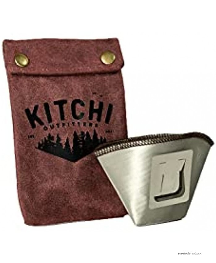 Kitchi Outfitters Lightweight Stainless Camping Backpacking and Hiking Pour Over Coffee Dripper with Maroon Canvas Storage Pouch