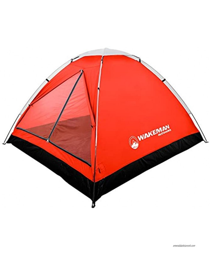 2-Person Tent Water Resistant Dome Tent for Camping with Removable Rain Fly and Carry Bag Lost River 2 Person Tent by Wakeman Outdoors Red Gray