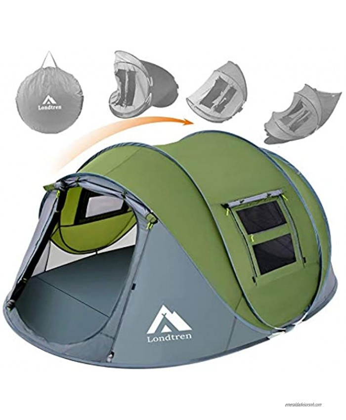 4 Person Easy Pop Up Tent Waterproof Automatic Setup 2 Doors-Instant Family Tents for Camping Hiking & Traveling