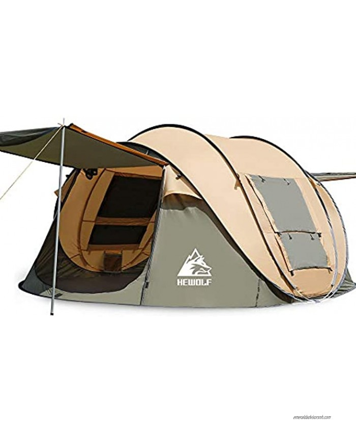 Hewolf 2 4 Person Pop Up Camping Tent,Instant Easy Setup,Waterproof,Automatic Family Tent for Camping,Hiking & Traveling