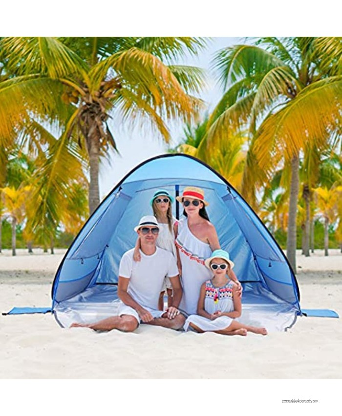 CLISPEED Pop Up Beach Tent Beach Sun Shelter for 3 Person with 4 Ventilation Design Plus Carrying Bag Stakes and Sand Bags for Summer Beach Picnics Camping Fishing Backyard Outdoor Activities