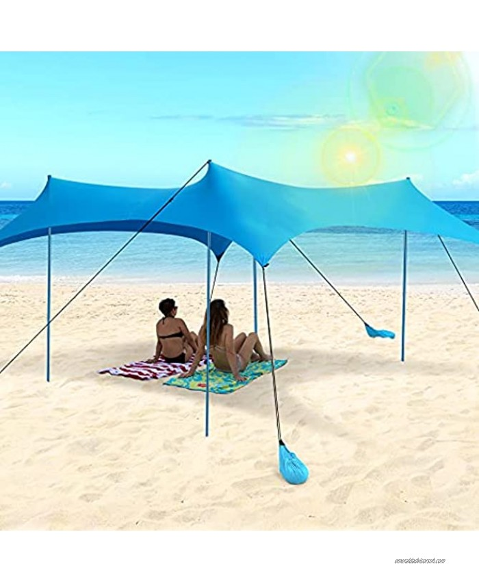 Family Beach Tent 10x10 FT Sun Shade Canopy UPF50+ Family Beach Sun Shelter with 4 Aluminum Poles 8 Sandbags and Carrying Bag for Outdoors Camping Fishing