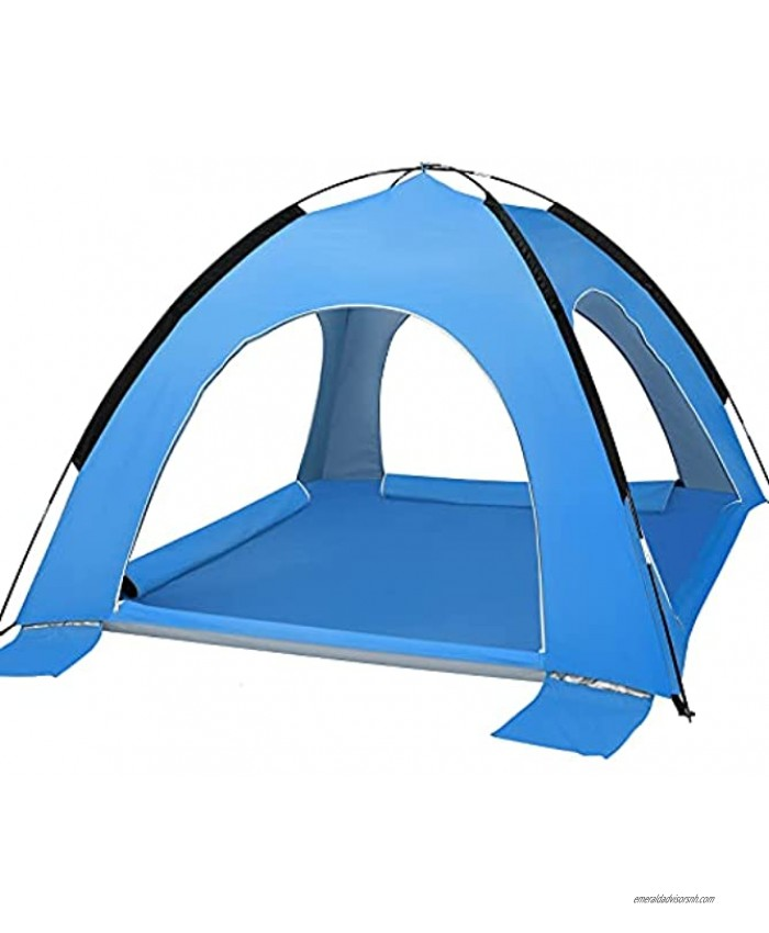 Family Beach Tent Large Portable Beach Sun Shelter Tents Collapsible Sun Shade 50+UV Umbrella Lightweight Outdoor Cabana Tent with Carry Bag Fit 2-6 Persons Canopy Tent for Camping Hiking Fishing