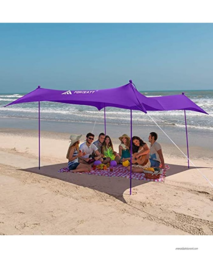 Forceatt Beach Tent Sun shelter Pop up Beach Tent with UPF50 UV Protection and 4 Aluminum Poles,Outdoor shelter for Beach time Backyard,Fishing Camping or Family Picnics10x10FT
