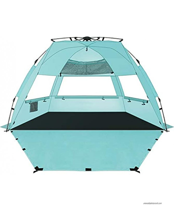 KOON Beach Tent Sun Shelter Pop Up XL Easy Setup Beach Shade for 3-4 Person with UPF 50+ Protection Extended Floor & 3 Ventilation Windows丨Carrying Bag Ocean Blue Ocean Blue