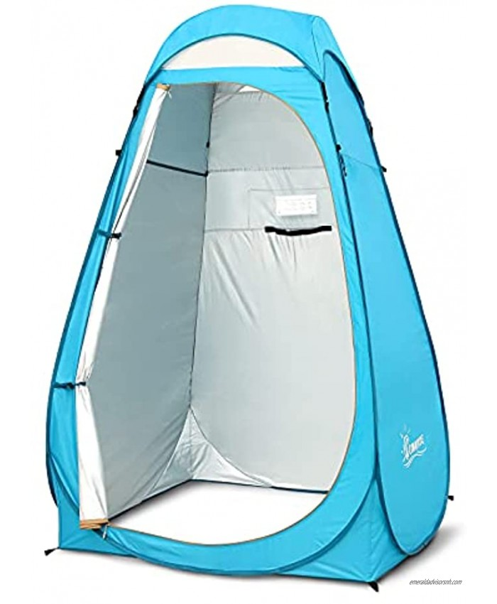 COMMOUDS Pop Up Privacy Tent 6.11FT Extra-Tall Portable Camping Shower Tent Outdoor Toilet Dressing Changing Room Fishing Shade with Carry Bag UPF 50+