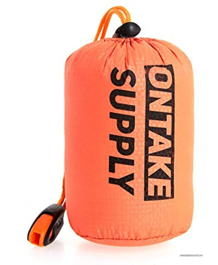 ONTAKE Emergency Sleeping Bag Thermal Blanket Emergency Bivy Sack Whistle Valentines Day Gift Waterproof Lightweight for Camping Hiking Survival Outdoor Adventures Orange