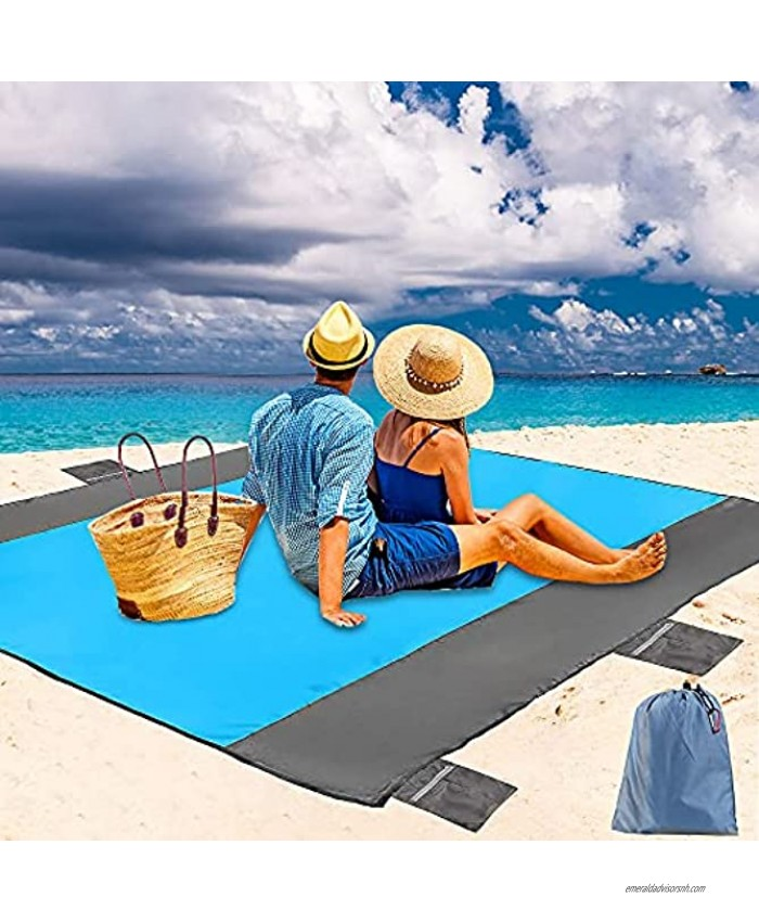 79×83 inch Large Thick Sand Free Beach Blanket with 6 Zipper Pockets 4 Stakes Waterproof Picnic Blanket Oversized for 4-6 Adults Durable Lightweight Windproof Beach Mat for Travel Camping Hiking
