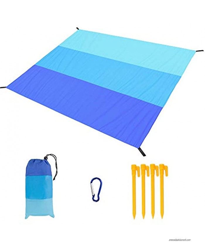 Beach Blanket Sandproof Waterproof Beach Mat Oversized 79 X 83 for 4-7 Adults Portable Outdoor Picnic Blankets Lightweight Durable Easy Clean for Beach Trips Camping Hiking