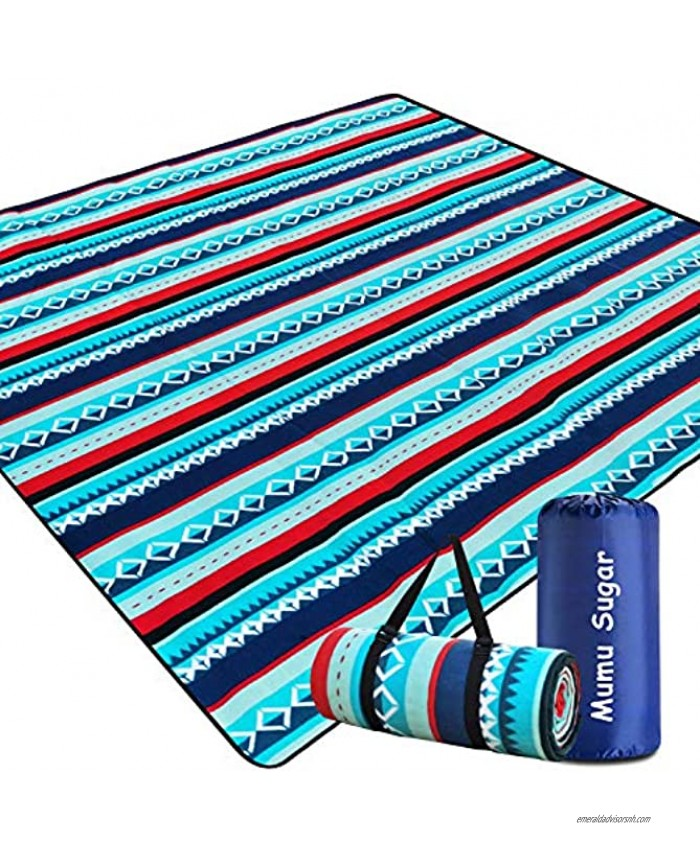 Mumu Sugar Outdoor Picnic Blanket,Extra Large Picnic Blanket 80x80 with 3 Layers Material,Waterproof Foldable Picnic Outdoor Blanket Picnic Mat for Camping Beach Park Family Concerts Fireworks