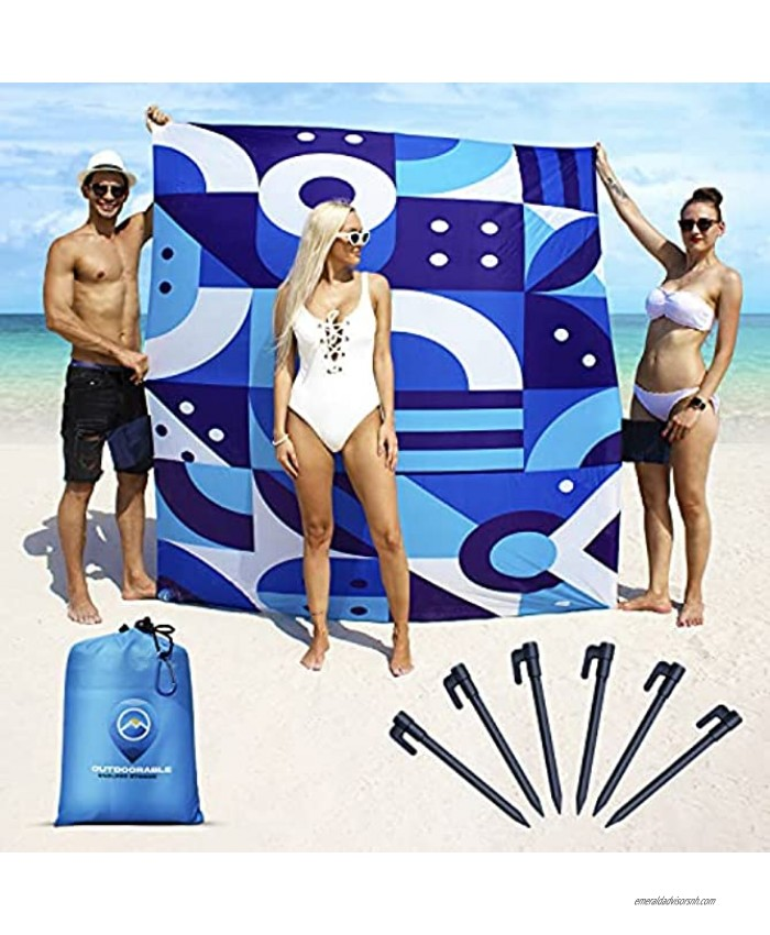 Sandproof Beach Blanket Italian Design Beach Mat Sand Free Waterproof 79 x 83 with 6 Stakes and Zippered Pockets Sand Free Beach Blankets for Camping Picnic Hiking and Festivals