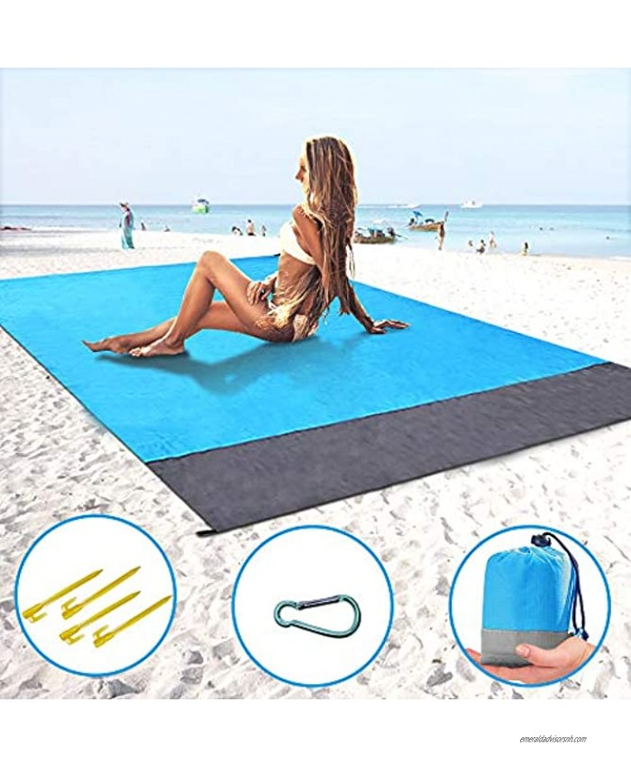 ThreeMay Sand Free Beach Blanket 55″x78″ Compact Pocket Blanket Extra Large SandProof Waterproof Ground Cover Picnic Mat for Beach,Travel Hiking Camping Festival Sports Blue