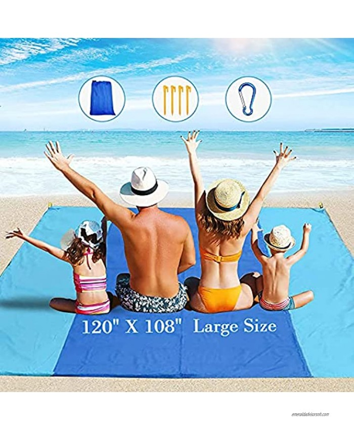 YOYOBEAR Sandfree Beach Blanket Huge Ground Cover 9' x 10' for 7 Adults Best Sand Proof Picnic Mat for Travel Camping Hiking and Music Festivals Durable Tarp with Corner Pockets