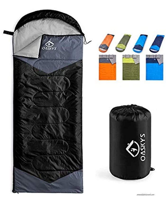 oaskys Camping Sleeping Bag 3 Season Warm & Cool Weather Summer Spring Fall Lightweight Waterproof for Adults & Kids Camping Gear Equipment Traveling and Outdoors
