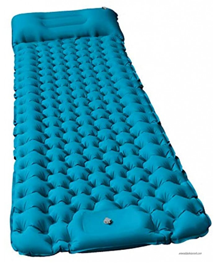 Camping Air Sleeping Pad Mat GDPETS 2020 New Foot Press Camping Pads for Backing Hiking Traveling Durable Waterproof Lightweight Hiking Pad Peacock Blue