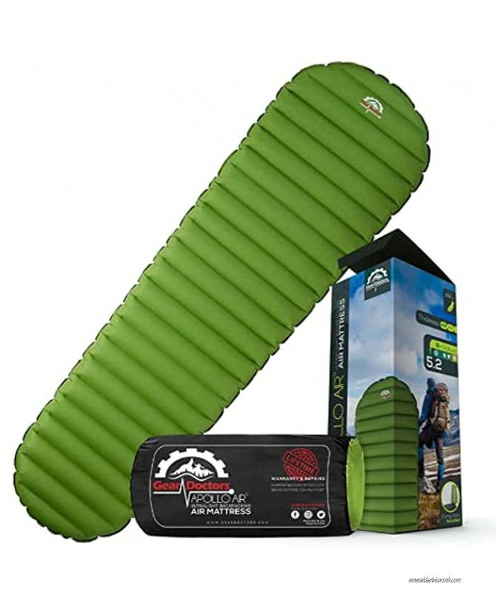 Ultralight 17oz Camping Sleeping pad- Gear Doctors ApolloAir Compact  Warm 5.2 R-Value 4 Season Air Mattress  Perfect for Backpacking  Hiking Lightweight Inflatable & Compact Sleep Pad