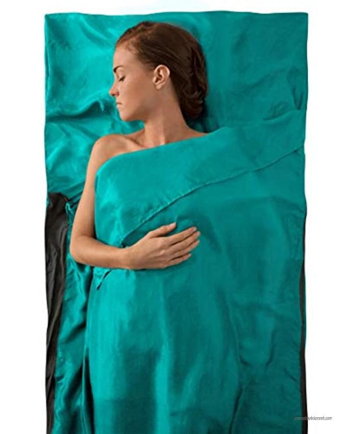 Sea to Summit Premium Silk Sleeping Bag Liner Traveller w Pillow Slip 88x37 inches Sea Foam