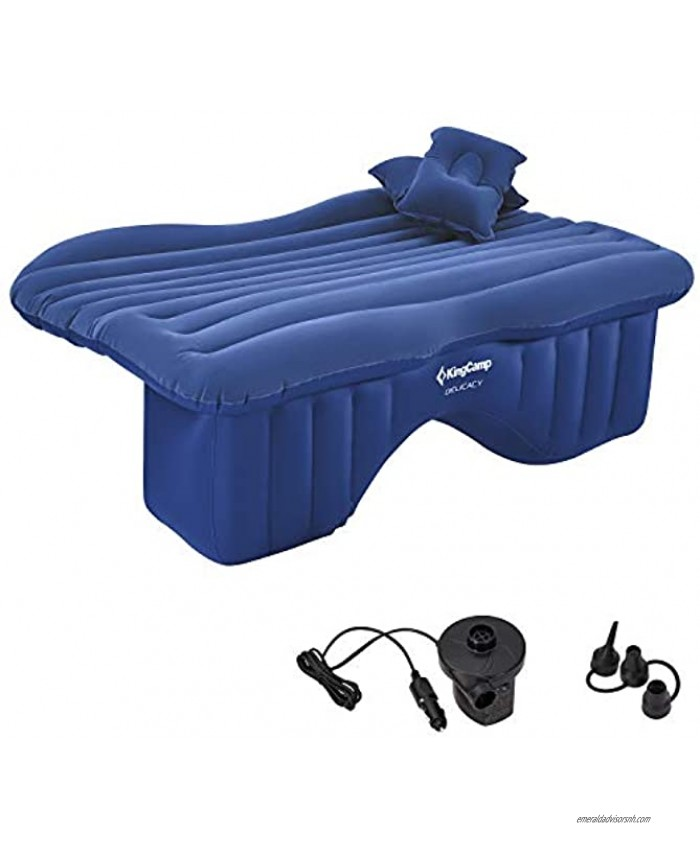 KingCamp Universal Car SUV Inflatable Back Seat Air Mattress with Air Pump 2 Pillows Portable Camping Car Blow Up Sleep Bed Flocking Surface Waterproof Leak Proof